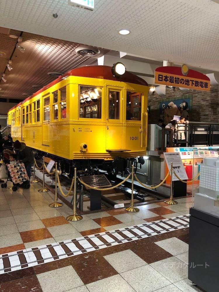 日本で初めての地下鉄電車で国の重要文化財、銀座線1001号車in 地下鉄博物館